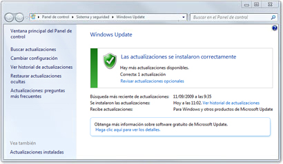 Ventana de Windows Update