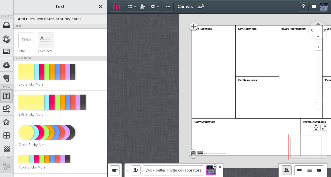 Ejemplo de Canvas Business Model con Mural.ly