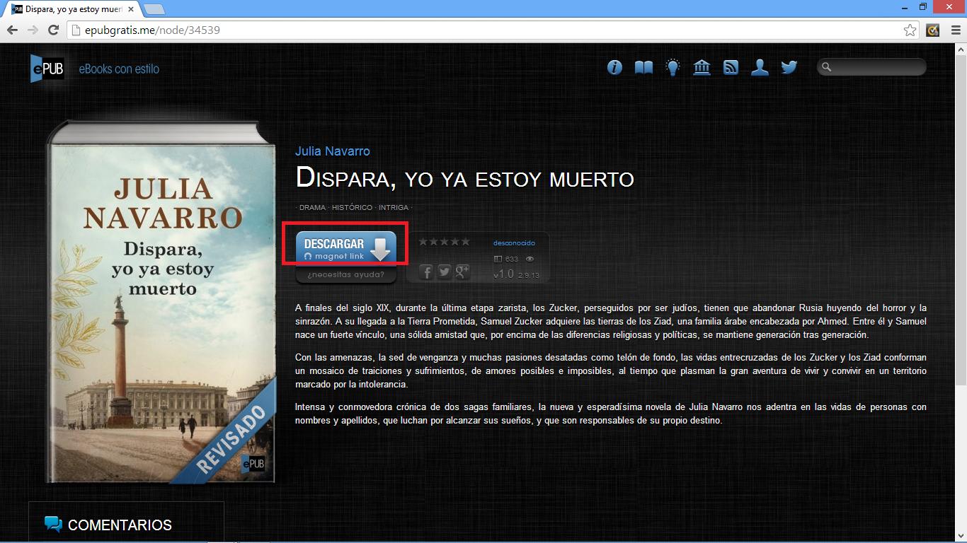 pantalla de descarga del libro