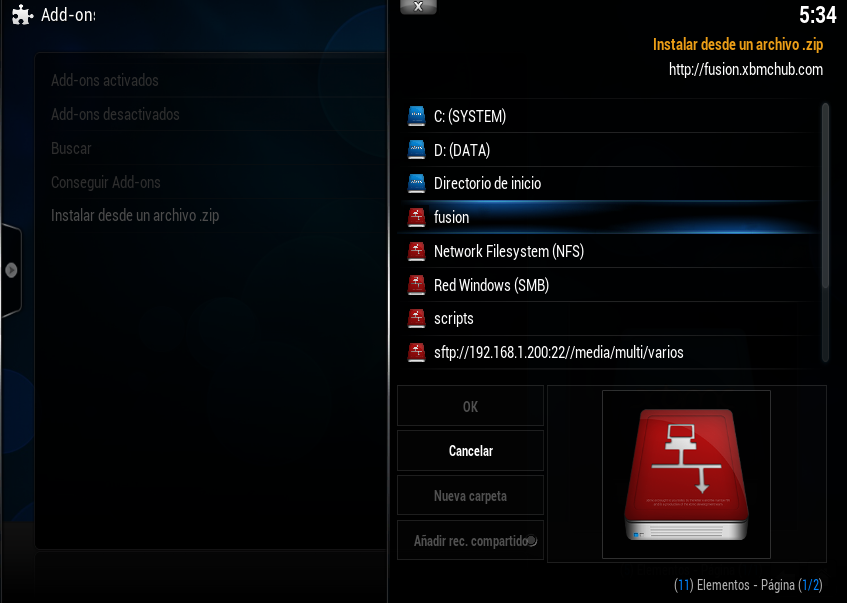 fuente nueva en XBMC 03